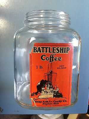 Vintage Battleship Coffee Jar 1 lb Size By The Canby, Ach & Canby Co. Dayton, OH