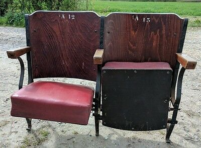 Vintage Cast Iron Wood Leather French Cinema Theater Seats