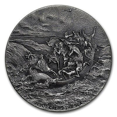 2017 Biblical Series Jesus Calms The Sea 2 oz .999 Silver Antiqued Finish Coin