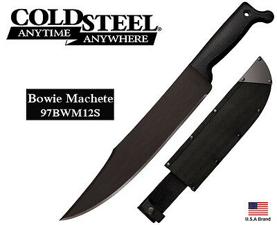 "Cold Steel 12"" Fixed Blade Knife Bowie Machete 1055 Carbon Steel Sheath 97BWM12S"