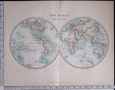 1904 LARGE MAP WORLD WESTERN & EASTERN HEMISPHERE ~ OCEANIA AMERICAS EUROPE etc