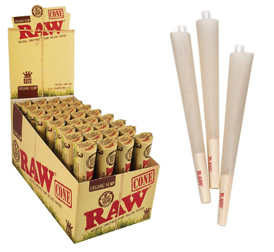RAW King Size Organic Pre Rolled Cones - Full Box - 32 Packs of 3, 96 Cones