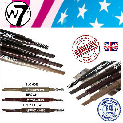 W7 TWIST AND SHAPE Brow Twister Angled Soft Eyebrow Pencil & Stylist Brush NEW