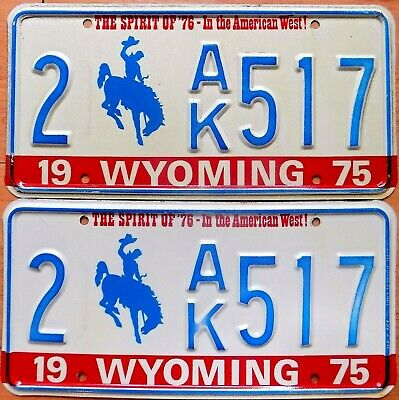 lot  2 PLAQUES immatriculation américaine USA  WYOMING 1975
