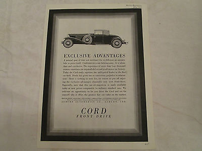 1931 Cord Convertible Cabriolet Original Print Advertisement from June 1931