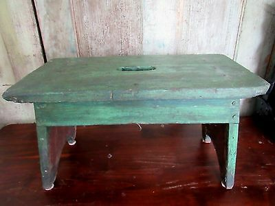 Old Antique Primitive Grubby Green Paint Wood Wooden Kitchen Step Stool