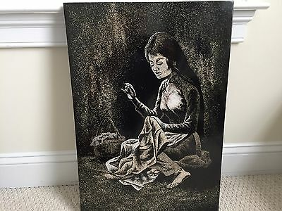 "Vietnamese Lacquer Crushed Eggshells ""Woman Sewing"" 16l X 23.5h Painting"