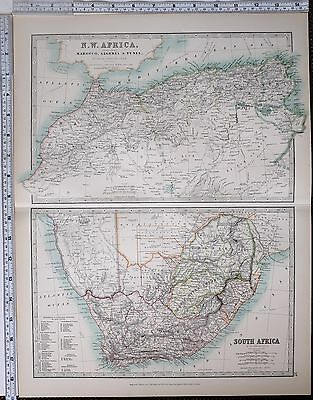 1904 Large Map North West Africa Marocco Algeria Tunis ~ Cape Colony Natal Zulu
