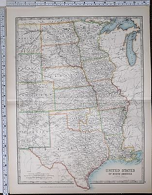 1904 Large Map United States Texas Kansas Nebraska Oklahoma Missouri Colorado