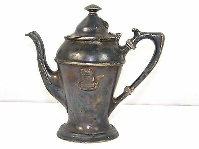 Antique  Book Cadillac Hotel Nickle Silver Soldered Teapot