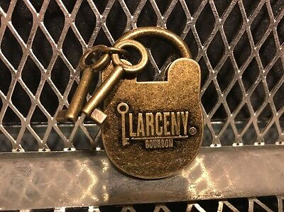 LARCENY BOURBON WHISKEY ~ Metal Pad Lock & Skeleton Keys Keychain Fob ~ NEW