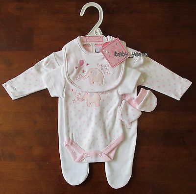 Premature Baby Girls Gift Set Sleepsuit Vest Bib Scratch Mitts Prem Clothing New