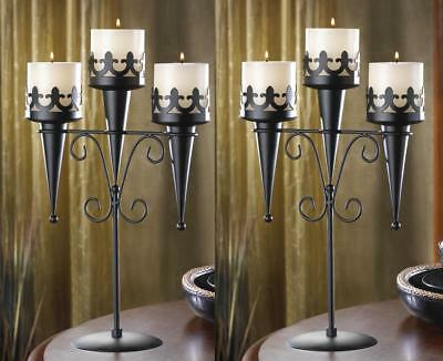 2 Black Medieval Castle Candelabra Torch Gothic Dungeon Throne Candle Holders