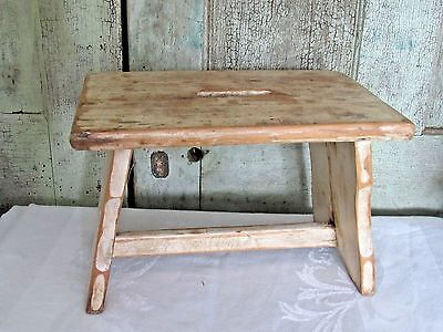 Old Antique Primitive Grubby White Paint Wood Wooden Kitchen Step Stool