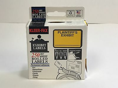 Plaintiff's Exhibit Self Adhesive Stickers, Yellow, Box of 250 Rolled Labels