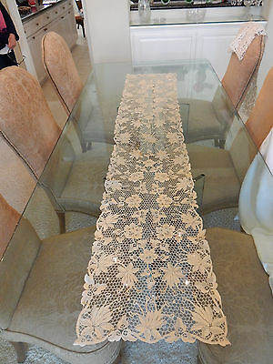 Beautiful Dark Ivory Antique Lace Table Runner