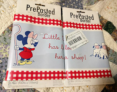 New Vintage 2 Pkgs 10 Yards Disney Minnie Mouse Nursery Ryhme Wallpaper Border