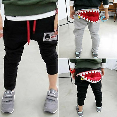 Kids Boys Girls Harem Pants Trousers Shark Shorts Cartoon Sports Sweatpants 2-7Y