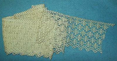 "EXCEPTIONAL Vintage Antique LACE TRIM edging HAND MADE ? Spider Web 103"" GORG!"
