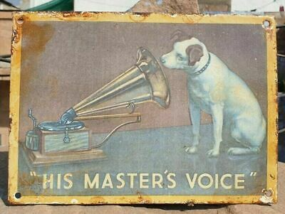 1930's Old Double Side His Master's Voice Gramophone Porcelain Enamel Sign Board
