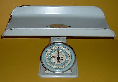 Vintage Hanson model 3025 Nursery Baby Scale - Stork Face - baby tray decal