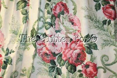 Shabby Cottage Chic Vintage Curtain Panels Pink Roses Vintage Thermal B13