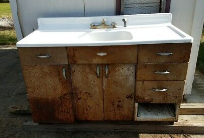 Antique Farm House Porcelain Kitchen Sink Basin Metal Cabinets Vintage Enamel