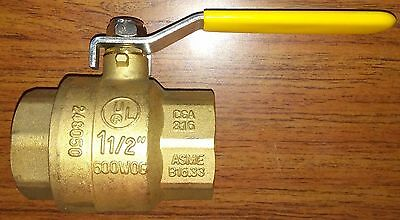 "NEW Made in USA BOSTON 1-1/2"" Brass Ball Valve 600psi WOG 2 female NPT ends"