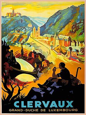 Clervaux Grand Duche de Luxembourg Vintage Travel Advertisement Art Poster Print