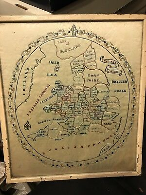 Estate Found Vintage Rare 19th Century United Kingdom Map Sampler On Silk