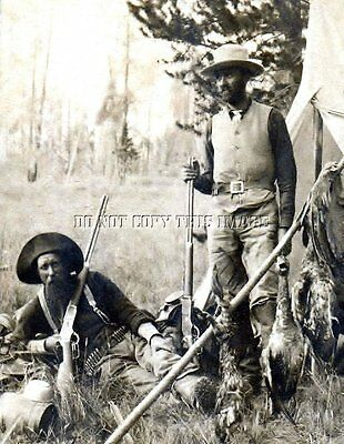 Early Antique Repro Photograph Hunters Camp Showing Winchester 1876 Rifles