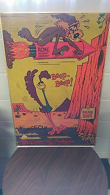 Road Runner Wile E. Coyote Vintage Poster Rare 1972 Looney Tunes Antique Art