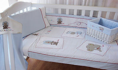 Bubba Blue Premier Baby Cot Embroidered Tickle Me Boys Cot Linen Set 8 piece