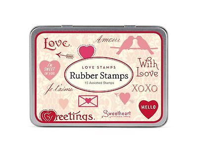 Cavallini Papers Love-Assorted Wooden Rubber Stamps Packaged in A Tin Set... New