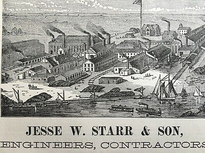 Vintage 1876 Ad Camden NJ Iron Works Factory Jesse Starr Fire Hydrants Valves ++