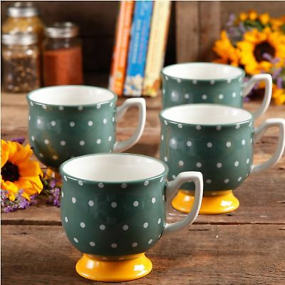 The Pioneer Woman Flea Market 15 Oz Footed Decorated Mugs, Green Dots, Set Of 4
