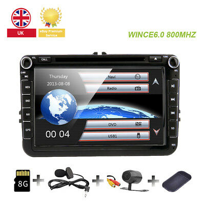"8"" HD Car DVD Stereo GPS Sat Nav RDS Bluetooth VW Golf MK5 MK6 Jetta Passat UK"