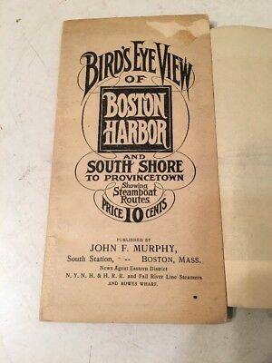 Rare Antique Birds Eye View Map Of Boston Harbor To Provincetown Steamboat Route