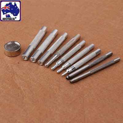 10pcs Punch Snap Rivet Setter Base Tools Set Button Hole Leather Craft TOOLS1534
