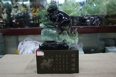 "14"" Collect China 100% Natural Xiu Jade Green Jade Hand-carved Monkey Sculpture"