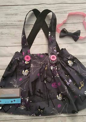 Skirt and braces set made from nightmare before christmas fabric 0-3 m - 2 year
