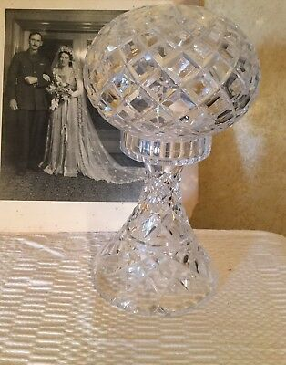 Antique Vintage Art Deco Inwald Lead Crystal Boudoir Mushroom Lamp French Style