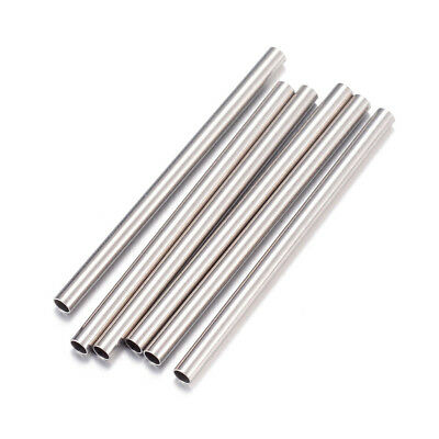 50x 304 Stainless Steel Tube Metal Beads Smooth Straight Noodle Spacers 25x1.5mm