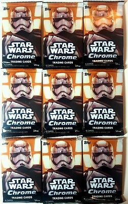 Star Wars FORCE AWAKENS CHROME Trading Card PACK  X 9  TOPPS  2016 Retail WAVE