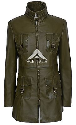 Ladies Leather Jacket OLIVE GREEN Gothic Style FITTED 100% REAL NAPA COAT 1310