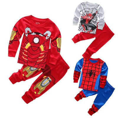 1-7 Years Toddler Kids Baby Boy Girl Cotton Tops Pants 2Pcs Outfits Set Clothes