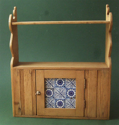 Original Aesthetic Movement Wooden Wall Cabinet with Antique Blue and White Tile