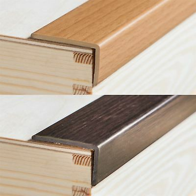 UPVC WOOD EFFECT STAIR EDGE NOSING TRIM PVC SELF-ADHESIVE 1000 x 35 x 20mm E33