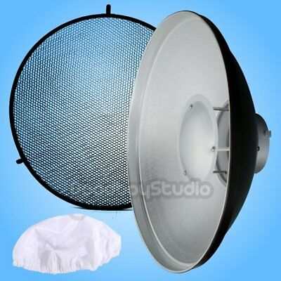 "AU 55cm 22"" SILVER Honeycomb Grid Beauty Dish Bowens Mount + Sock F Flash Strobe"