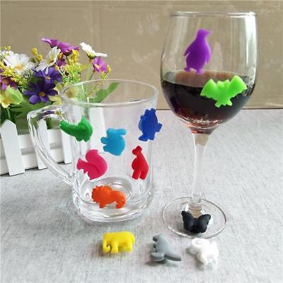 12 Silicone Suction Wine Glass Bottle Drink Markers Charms Cup Identify Label JJ